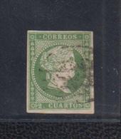 EDIFIL 47 US. 2 CU VERDE ISABEL II. CATÁLOGO 38 EUROS. - Used Stamps