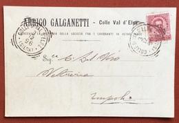 COLLE DI VAL D'ELSA (SIENA) Annullo T.R. 3/12/9 CARTOLINA PUBBLICITARIA ARRIGO GALGANETTI LAVORAZIONE VETRO PER EMPOLI - 1878-00 Umberto I