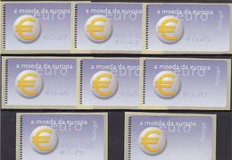 Portugal   - 8 -Etiquetas -Moeda Da  Europa  Novas - Annullamenti Meccanici (pubblicitari)