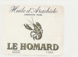 H 20 - ETIQUETTE  HUILE D'ARACHIDE    LE HOMARD - Labels