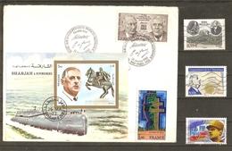 De Gaulle - Petit Lot De 2 FDC + 1 Bloc + 9 Timbres° (dont 1 Personnalisé Colombey) -  2 Scans - De Gaulle (Général)