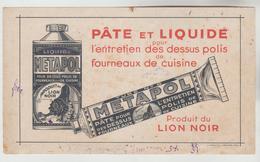 BUVARD PUBLICITAIRE - PATE ET LIQUIDE METAPOL POUR ENTRETIEN DES FOURNEAUX PRODUIT LION NOIR - Wash & Clean