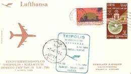 Libye 7/4/1964 - First Flight Lufthansa - Boeing Jet 720 B - Tripoli - Khartoum - Cairo - Frankfurt - Libye