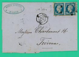 Paris - Trevoux - Avoir Sté Barjavel - Dorure - 31 Janv. 1860 1 Février 1860 - Courrier Pli Postal - TTB - 2x20 Ces - - 1849-1876: Période Classique