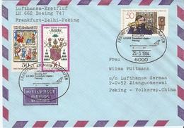 Allemagne Fédérale 25/3/1984 - First Flight Lufthansa - Frankfurt - Delhi - Peking - Beijing - Boeing 747 - 788/794/800 - [7] République Fédérale
