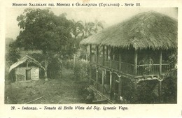 """1684 """" MISSIONI SALESIANE MENDEZ/GUALAQUIZA(EQUATORE)-INDANZA-TENUTA DI BELLA VISTA """" CART. POST. ORIG. NON SPED. - Missioni"""