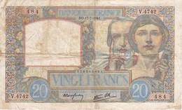 BILLETE DE FRANCIA DE 20 FRANCS DEL 17-7-1941 (BANKNOTE) SCIENCE - 1871-1952 Antichi Franchi Circolanti Nel XX Secolo