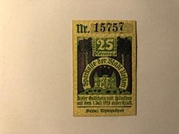 Allemagne Notgeld Ulzen 25 Pfennig - [ 3] 1918-1933 : Weimar Republic