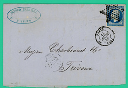 Paris - Trevoux - Commande Sté Barjavel - Dorure - 10 Janv. 1860 14 Janv. 1860 - Courrier Pli Postal - TTB - 1x20 Ces - - 1849-1876: Période Classique