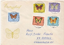 Postal History Cover: Germany / DDR Full Set On Cover - Butterflies