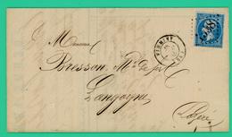 Firminy - Langogne - 29 Mars 1865 - Berne Frères - Courrier Pli Postal - TTB - 1x20 Ces - Avec N°1538 Dans Losange - - 1849-1876: Période Classique