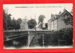 CPA - CHATEAURENAULT (37) - Aspect Du Pont De La Gare Et Du Pavillon Bellevue Au Début Du Siècle - Francia