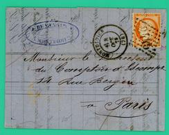 Montdidier 80 - Paris - Escompte Et Recouv.t  - Devanaux - Courrier Pli Postal -  1875 - 40 Ces Rouge - N°2445 Losange - - 1849-1876: Période Classique