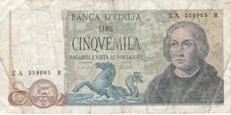 BILLETE DE ITALIA DE 5000 LIRAS DEL AÑO 1973 DE CRISTOBAL COLON  (BANKNOTE) - [ 2] 1946-… : Républic