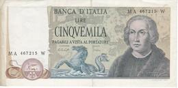 BILLETE DE ITALIA DE 5000 LIRAS DEL AÑO 1977 DE CRISTOBAL COLON  (BANKNOTE) - [ 2] 1946-… : Républic