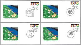 EXPO'88 BRISBANE, AUSTRALIA - RARO Juego COMPLETO 64 Matasellos De La Expo - Complet Set Of 64 Cancels. - Exposiciónes Universales