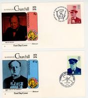 4 Lettres 1er Jour - 1974 - Sir Wiston Churchill - - Lettres & Documents