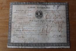 Garde Nationale De L'Aube Romilly Sur Seine  1834  Diplome - Documents Historiques