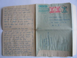 India Inde AIR LETTER Aerogramme Postal Stationary  6 Annas 1948 !! Bombay To St. Louis USA - 1936-47 Roi Georges VI