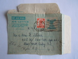 India Inde AIR LETTER Aerogramme Postal Stationary FRONT 6 Annas 1948 !! Colaba Bombay To St. N.Y. USA - 1936-47 Roi Georges VI