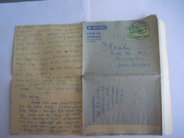 India Inde Aerogramme Postal Stationary  50 NP 1963  CAMP P.O.  Military Poste Militaire To Osnabrück West-Germany - Aérogrammes