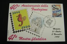 1998   41°    MOLFETTA  FDC MOSTRA FILATELICA FIRST DAY PREMIER JOUR MAXIMUM - Francobolli (rappresentazioni)