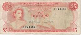 BILLETE DE BAHAMAS DE 5 DOLLARS DEL AÑO 1974  (BANKNOTE) MUY RARO - Bahamas
