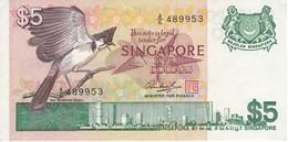 BILLETE DE SINGAPORE DE $5 DE UN PAJARO DEL AÑO 1976 EN CALIDAD EBC (XF) (BANKNOTE) BIRD - Singapur
