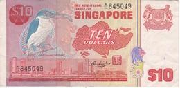 BILLETE DE SINGAPORE DE $10 DE UN PAJARO DEL AÑO 1976 (BANKNOTE) BIRD - Singapur
