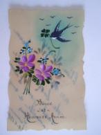 Bonne Et Heureuse Annee Carte Celluloid Fleurs Bloemen Hirondelle Zwaluw écrit 1928 - Non Classés