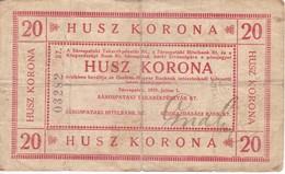 BILLETE DE HUNGRIA DE 20 KORONA DEL AÑO 1919  (BANKNOTE) MUY RARO - Hungría