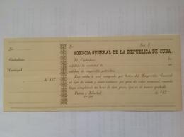 Cuba  Bono Agencia General De La Republica De Cuba - Cuba