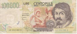 ¡¡FALSO DE EPOCA!! BILLETE DE ITALIA DE 100000 LIRAS DEL AÑO 1994 DE CARAVAGGIO (BANKNOTE-BANK NOTE) - [ 2] 1946-… : República