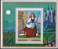 "Ajman 1971 Bf. 304A ""Goose Girl"" Favola Grimm Sheet Perf. CTO Fairy Tales - Scrittori"