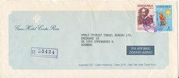 Costa Rica Registered Cover Sent To Denmark 26-6-1986 - Costa Rica