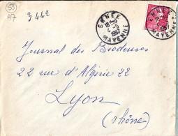 53 - MAYENNE - ERNEE - 1957 - TàD De Type A7 - Postmark Collection (Covers)