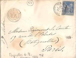 53 - MAYENNE - FOUGEROLLES Du PL. - 1886 - TàD De Type A1 - Postmark Collection (Covers)