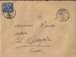 53 - MAYENNE - LA GRAVELLE - 1883 - TàD De Type 17 - Postmark Collection (Covers)