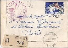 53 - MAYENNE - MESLAY DU MAINE - 1956 - TàD De Type A5bis - Postmark Collection (Covers)