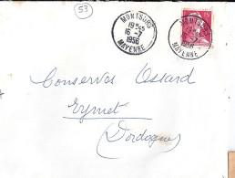 53 - MAYENNE - MONTSURS - 1956 - TàD De Type A7 - Postmark Collection (Covers)