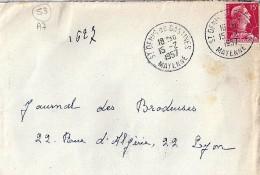 53 - MAYENNE - ST DENIS DE GASTINES - 1957/59 - TàD De Type A7 - Postmark Collection (Covers)
