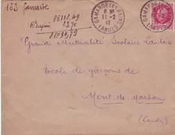LANDES FACTEUR RECEVEUR GAMARDE LES BAINS 1942 - Postmark Collection (Covers)