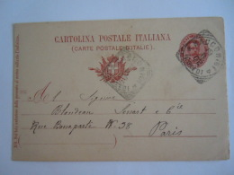 Italie Italia Entier Postal Stationary Cartolina 1900 Racconigi (Cuneo) -> Paris - 1878-00 Humbert I