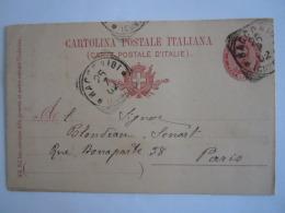 Italie Italia Entier Postal Stationary Cartolina 1902 Racconigi (Cuneo) -> Paris - 1878-00 Humbert I