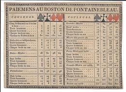 Ca 1810-1830 Règles Et Paiemens Au Boston De Fontainebleau (ancêtre Du Whist) - Cartes à Jouer Classiques