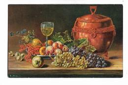 Nature  Morte  -  Signée   A.....( Reste  Indistinct  )  Fruits  Varies , Verre  Du  Vin - Schilderijen