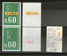 Paire N° 1815a** + 1815b**_Gomme Tropicale Avec Phospho_1 Numéro Rouge Verso_cote 35.00 - 1971-76 Marianne Of Béquet