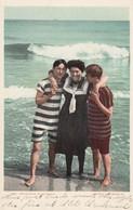 Woman With 2 Men Bathing Sutis At Beach, Romance Theme 'Two Strings To Her Beaux' C1900s Vintage Detroit Pub. Postcard - Fashion