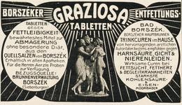 Original-Werbung/ Anzeige 1906 - BORSZÉKER GRAZIOSA ENTFETTUNGS - TABLETTEN - BORSZÉK - Ca. 90 X 50 Mm - Werbung