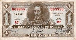 BOLIVIA 1 BOLIVIANO 1928 P-128a7 XF++-SERIE-009955 - Bolivia